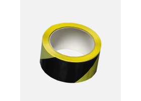 Lepicí páska výstražná, 50 mm x 66 m, černo žlutá, pravá
