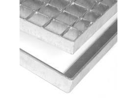 Kovová ocelová čistící venkovní vstupní rohož bez gumy bez pracen ze svařovaných podlahových roštů Galva, FLOMA - délka 51,5 cm, šířka 101,5 cm a výška 3,5 cm