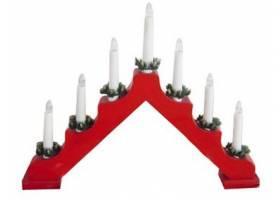 Svícen vánoční el. 7 svíček,teplá BÍ,jehlan,dřev.ČRV,do zásuvky